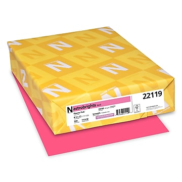 """Astrobrights Colored Paper, 24 lbs., 8.5"""" x 11"""", Plasma Pink, 500 Sheets/Ream (22119)"""