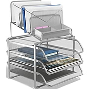 TRU RED™ All-In-One 10 Compartment Wire Mesh Compartment Storage, Silver (TR57531)