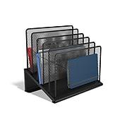 TRU RED™ 5 Compartment Wire Mesh File Organizer, Matte Black (TR57554)