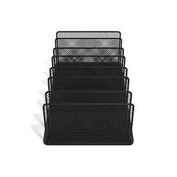 TRU RED™ 7-Compartment Wire Mesh File Organizer, Matte Black (TR57552)
