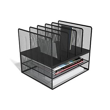 TRU RED™ 7 Compartment Wire Mesh File Organizer, Matte Black (TR57532)