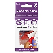 Lee Tippi Size 5 Small Fingertip Grips, Assorted Colors, 10/Pack (61050)