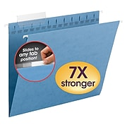 Smead TUFF Recycled Hanging File Folder, 3-Tab Tab, Letter Size, Blue, 18/Box (64041)