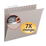 Smead TUFF Hanging File Folders with Easy Slide Tab, 1/3 Cut, Letter Size, Steel Gray, 18/Box (64092)