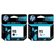 HP 98/95 Black/Tri-Color Standard Yield Ink Cartridge, 2/Pack (CB327FN-VB)
