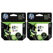 HP 62 Black/Tri-Color High Yield Ink Cartridge, 2/Pack (N9H64FNXL-VB)