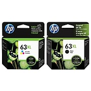 HP 63 Black/Tri-Color High Yield Ink Cartridge, 2/Pack (LOR46ANXL-VB)