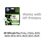 HP 951 Cyan/Magenta/Yellow Standard Yield Ink Cartridge, 3/Pack (CR314FN#140)