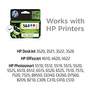HP 564 Cyan/Magenta/Yellow Standard Yield Ink Cartridge, 3/Pack (N9H57FN#140)