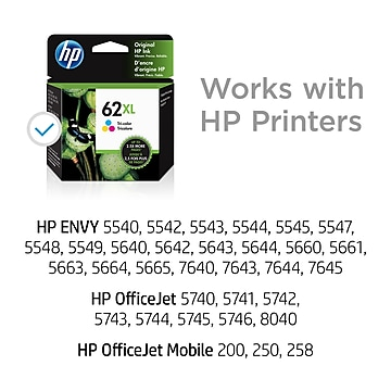 HP 62XL Tri-Color High Yield Ink Cartridge (C2P07AN#140)