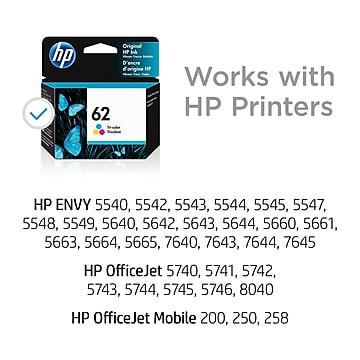 HP 62 Tri-Color Standard Yield Ink Cartridge (C2P06AN#140)
