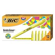 BIC Brite Liner Stick Highlighter, Chisel Tip, Yellow, Dozen (65550)