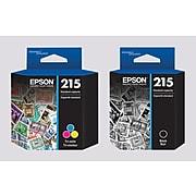 Epson T215 Black & Tri-Color, Standard Yield Ink Cartridges, 2/Pack (T215BC-VB)