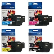Brother LC71 Black, Cyan, Magenta, Yellow, Standard Yield Ink, 4/Pack