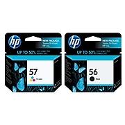 HP 56/57 Black/Tri-Color Standard Yield Ink Cartridge, 2/Pack (C6658AN2PK-VB)