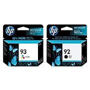 HP 92/93 Black/Tri-Color Standard Yield Ink Cartridge, 2/Pack (C9363WN2PK-VB)