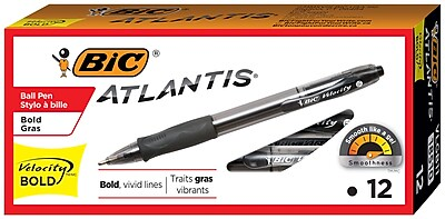 BIC Velocity Retractable Ballpoint Pen, Bold Point, 1.6mm, Black Ink, Dozen (18510/VLGB11BK)