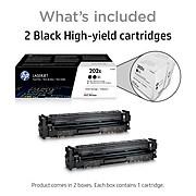 HP 202X Black High Yield Toner Cartridge, 2/Pack (CF500XD)