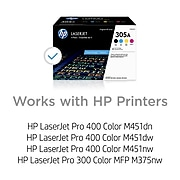 HP 305A Black/Cyan/Magenta/Yellow Standard Yield Toner Cartridge, 4/Pack