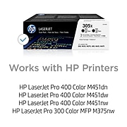 HP 305X Black High Yield Toner Cartridge, 2/Pack (CE410XD)