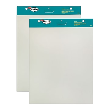 """Staples Stickies Easel Pads, 25"""" x 30"""", White, 30 Sheets/Pad, 2 Pads/Carton (23447)"""
