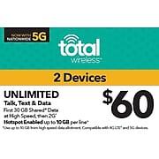 Total Wireless Unl Talk SMS Data 2 lines Prepaid Airtime Card $60