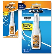 Bic Wite-Out 2-in-1 Correction Fluid, White, Each (WOPFP11)