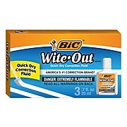 BIC Wite-Out Correction Fluid, White, 3/Pack (50603)