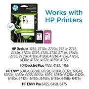 HP 67 Black/Tri-Color Standard Yield Ink Cartridge, 2/Pack (3YP29AN#140)