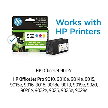 HP 962 Cyan/Magenta/Yellow Standard Yield Ink Cartridge, 3/Pack (3YP00AN#140)