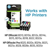 HP 910XL/910 Black High Yield and Cyan/Magenta/Yellow Standard Yield Ink Cartridge, 4/Pack (3JB41AN#140)