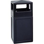 SafcoMD – Poubelle de 38 gallons avec ouverture latérale de la collection Trophy, carré de 18 x 39 1/4 po de haut, noir