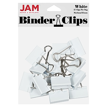 JAM Paper® Colorful Binder Clips, Medium, 1 1/4 Inch (32mm), White Binderclips, 15/Pack (339BCWH)