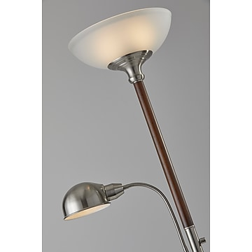 """Adesso® Lexington 71""""H Walnut and Brushed Steel Floor and Reading Lamp Combo (4052-15)"""