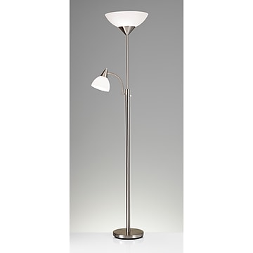 """Adesso® Piedmont 71""""H Brushed Steel 300W Torchiere Floor Lamp with Reading Light and White Plastic Shades (7202-22)"""