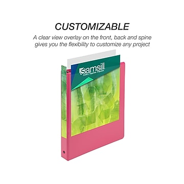 """Samsill Earth's Choice Biobased Standard 1"""" 3-Ring View Binder, Berry Pink (17336)"""