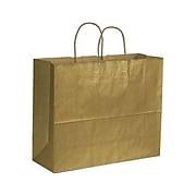 "Bags & Bows Varnish Stripe 16"" x 6"" x 12 1/2"" Kraft Paper Shopping Bags, Gold, 250 (15-160612-15)"