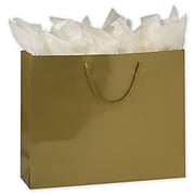 "Bags & Bows 13"" x 16"" x 4 3/4"" Paper Shopping Bags, Gold, 100/Carton (244-160413C-15)"