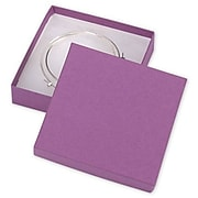 """Bags & Bows 3 1/2"""" x 3 1/2"""" x 7/8"""" Kraft Jewelry Boxes, Purple, 100/Pack (52-030301-14)"""