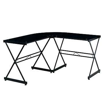 Techni Mobili L-Shaped Glass Top Computer Corner Desk, Black