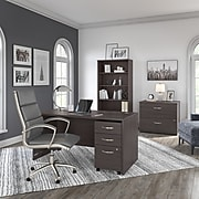 "Bush Business Furniture Studio C 60""W x 30""D Office Desk with Mobile File Cabinet, Storm Gray (STC014SGSU)"