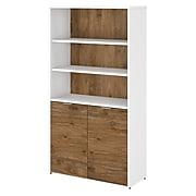 "Bush Business Furniture Jamestown 5 Shelf 66""H Bookcase, Fresh Walnut/White (JTB136FWWH)"