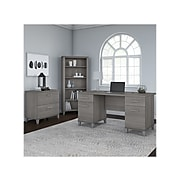 """Bush Furniture Somerset 60""""W Office Desk with Lateral File Cabinet and 5-Shelf Bookcase, Platinum Gray (SET013PG)"""