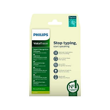 Philips VoiceTracer Speech Recognition Software for 1 User, Windows, Product Key Card (DVT2805)