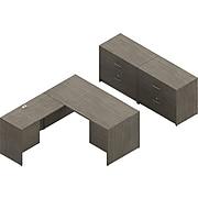 "Global 60"" L-Shaped Desk with 2 File Cabinets, Absolute Acajou (TDG5SL-ACJ)"