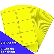"""JAM Paper Shipping Address Label, 3 1/3"""" x 4"""", Neon Yellow, 6 Labels/Sheet, 20 Sheets/Pack (354328049)"""