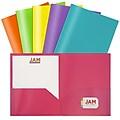 JAM Paper Plastic POP 2-Pocket Presentation Folder, Assorted Colors, 6/Pack (383EFassrt)