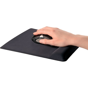 Fellowes Wrist Support Gel Mouse Pad/Wrist Rest Combo, Black (9181201)