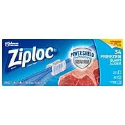 Ziploc Slider Freezer Bags, Quart, 34/Carton (316486)