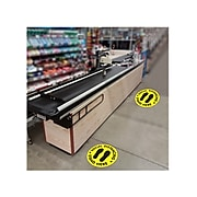 "Cosco Floor Decal Social Distancing Stand Here, PVC, 12"", Yellow/Black, 2/Pack (098492PK2)"